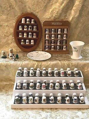 Lot of 90+ Vintage Thimbles + Two Wood Wall Displays. Wedgwood. Attic find.