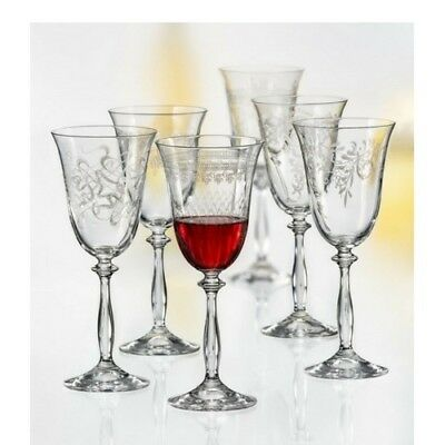 "Bohemia Crystal ""Royal"" Collection, Etched Red Wine Glasses, Set of 6, 350ml"