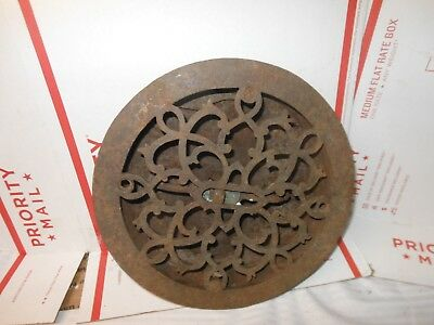 Ornate Antique Cast Iron Round Heating Grate Register Cover
