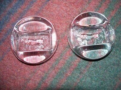 Pair of Vintage Erik Hoglund for Boda Sweden Art Glass Small Bowls w/Cows Signed
