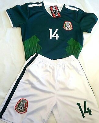 New! CHICHARITO Green Retro Mexico Home Soccer Jersey Russia 2018 2PC Set