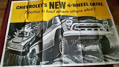 """1957 Chevrolet 4X4 pickup Showroom brochure with 2, NOS large 60""""x40"""" posters"""