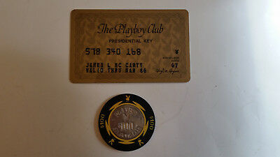 Vintage Playboy Club Member Key Card and $100 Atlantic City Gambling Chip