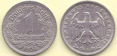 1934 D * 1 Mark Nickel, Erhaltung: leichte Mängel, small defects, Originalbild