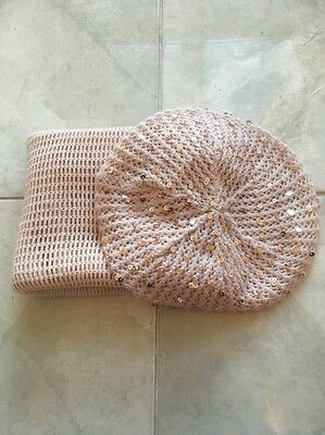 ladies Cream-brown  hat and scarf