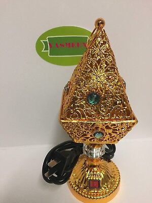 Yasmeen Gold Electric Incense Bakhoor Resin Burner Pyramid Shape On/Off Switch