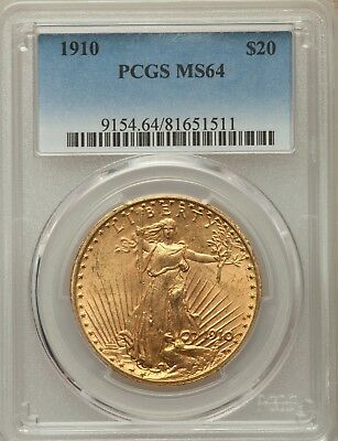 1910 $20 Saint-Gaudens Double Eagle Gold Coin - PCGS Graded MS64 - Rare Date