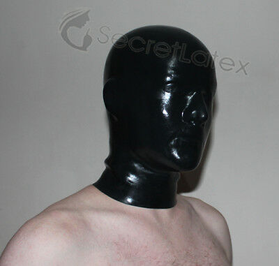 Latex Black Rubber Pull Over Hood Long Neck Gimp Fetish Anatomical Male Mask