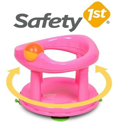 Baby Bath Seat Pink Safety 1st Swivel ROTATING Ergonomic Girl Bathing Chair