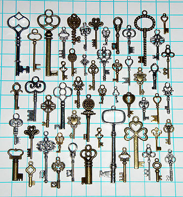 Antique Vtg old look Ornate Skeleton Key Lot Pendant Fancy Steampunk Heart Bow