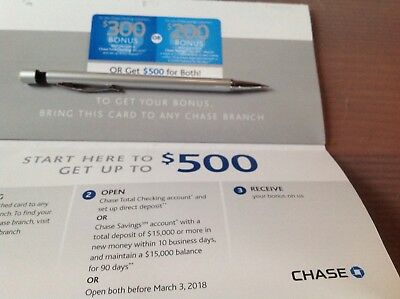 CHASE $500 Coupon $300 Checking/$200 Savings Exp 3/3/18 No Ship Messages pick up