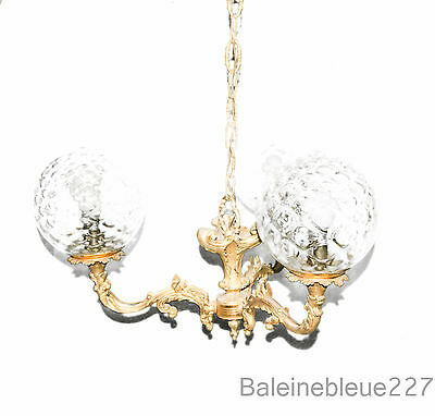 Old French Bronze Chandelier 3 lights Crystal Globe Architecture Restaurant 1900