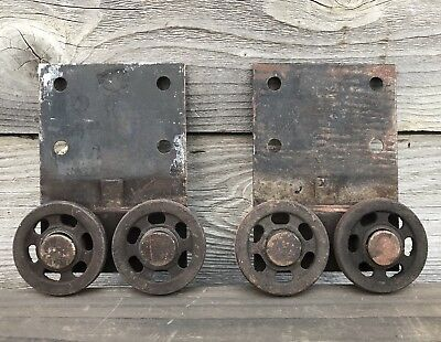 Lot of 2 Vintage Barn Door Hanging Track Rollers ~ Vintage Barn Door Hardware