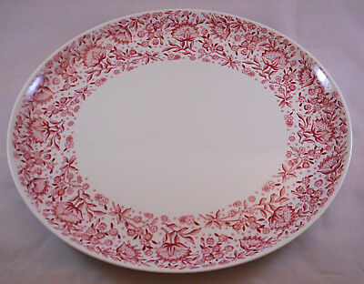 Syracuse Mayflower Carefree True China Pink Red Floral Serving Platter 12.5 X 11