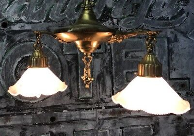 Restored Brass Victorian 2 Arm Holophane Ceiling Fixture Lighting Cut Shades C1