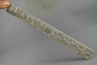 China Collectable Handwork Old Miao Silver Carve 12 Zodiac Exorcism Evil Statue