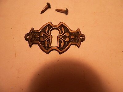 Antique Brass Nickel Key Hole Plate Eastlake Victorian Escutcheon Free Ship