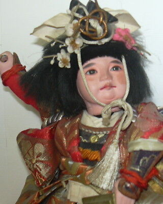 VINTAGE c1940's ORIENTAL SAMURAI DOLL YOUNG BOY MUSHA JAPANESE AS IS NR