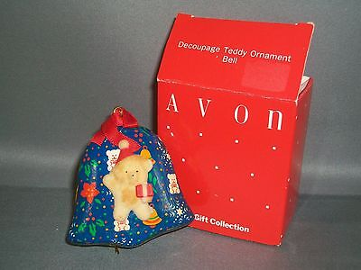 Vintage AVON Gift Collection Decoupage Teddy Bear Ornament - Blue Bell - In Box