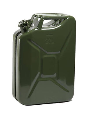 GREEN 20L STEEL JERRY CAN 20 ltr Litre metal fuel petrol diesel oil container