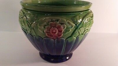 Early 1900s Pottery Weller of Roseville Blue/Green/Pink Large Jardiniere Planter
