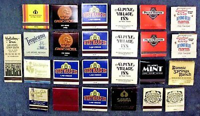 Vintage Las Vegas: Lot of 25 Hotel-Casino Matchbooks, Frontier,Sahara, Others