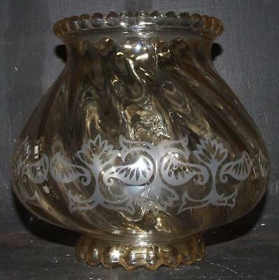 Vintage Victorian style Gold Lustre Acid Etched Glass Lamp Shade