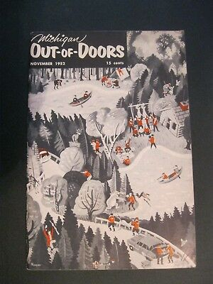 VTG 1952 November Michigan MI Out of Doors Magazine Hunting Fishing Camp Boat