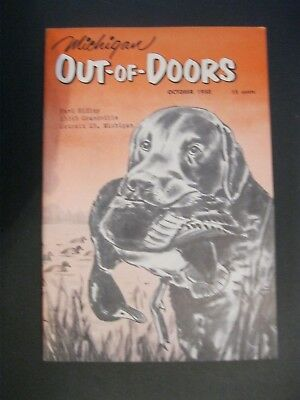 VTG 1950 October Michigan MI Out of Doors Magazine Hunting Fishing Duck Hunt Dog