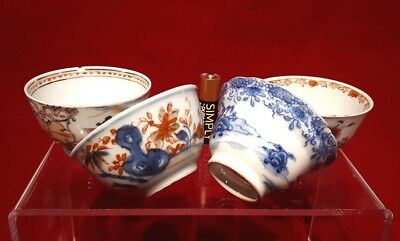Job Lot 4x Chinese Antique 19thC/18thC Famille Rose Imari Damaged Tea Bowls Qing