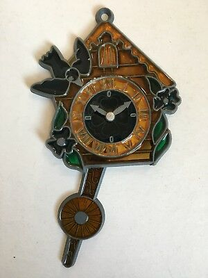 RARE Vtg CUCKOO CLOCK Metal Stained Glass Christmas Ornament Window Hanging