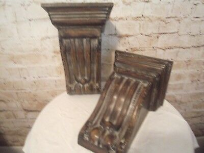 ~Beautiful Pair Wood Look Metal Architectural Corbel Wall Shelves! Very Pretty!~