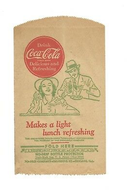 Vintage Coca Cola Coke No-Drip Protector W/patent Date Makes A Light Lunch Mint