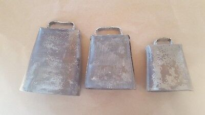 3 graduated Vintage Cow Bells No Clappers Cowbell Forged Folded & Riveted