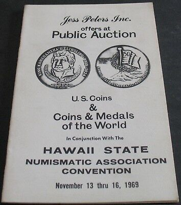 Vintage - Jess Peters Public Auction US World Coins Medals 1969 Hawaii Scarce