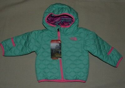 North Face Toddler Perrito Reversible Jacket Girl's Green  Baby 6- 12 Months