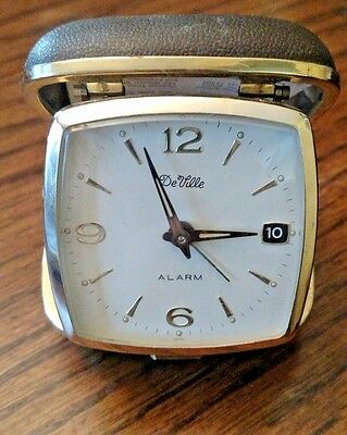 Vintage DeVille Travel Alarm Clock Working