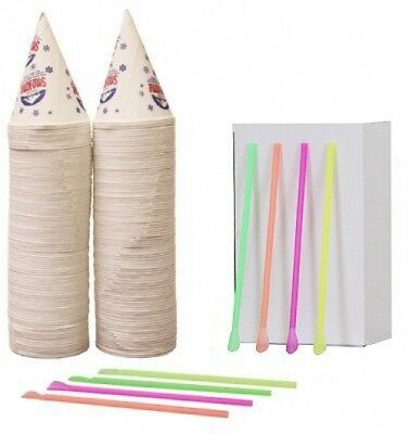 OpenBox 200 Snow Cone Cups 6 Oz and 200 Spoon Straws