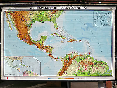 Vintage Pull Down School Wall Map Of The Caribbean  Mid America Central America