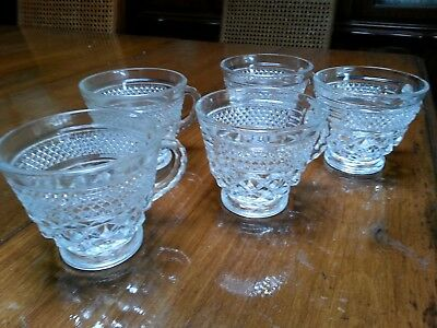 Vintage Anchor Hocking Punch Bowl Cups - Clear Diamond Cut Pressed Glass 6 Cups