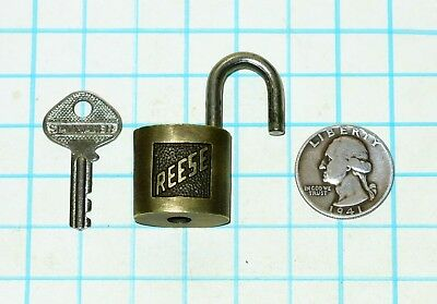Vtg Antique Old Ornate Miniature Small 1 inch REESE Lock Co Warded Padlock & Key