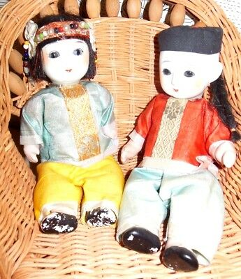 "LOT of 2 VINTAGE Bisque Oriental Asian Japanese Jointed China DOLLs  8"" LOVELY"
