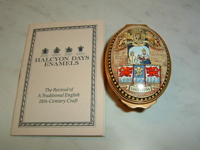 Stunning Halcyon Days England Oval Enamel Prince Charles Investiture Box Mint