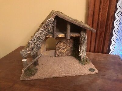 Vintage Fontanini Heirloom Nativity Manger Only Wood Moss Italy
