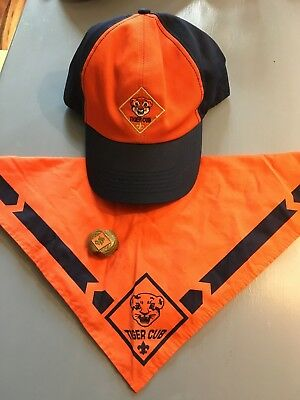 BSA Boy Scouts of America TIGER Cub Hat, Neckerchief And Slide GUC