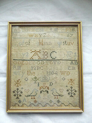 Lovely Antique Early 19Th Century Framed Needlework Alphabet Sampler Dated 1804.