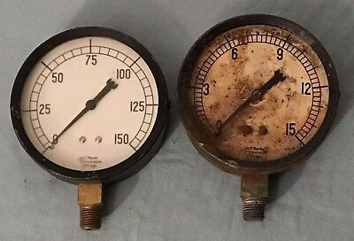 Lot of 2 Vtg Marsh Gauges w/ Needles 0-150 & Rusty 0-15  Steampunk Salvage