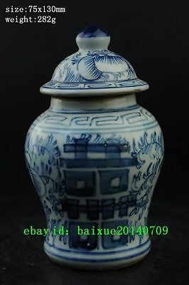 China antique Dynasty Palace White Blue Porcelain Carving Flower General tank