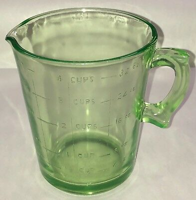 Vintage Antique Green Depression Glass 4 Cup Measuring Pitcher Original OLD NICE