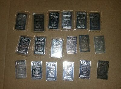 *Lot of 18* 5 Gram Silver Bullion JM assayers 999 silver bars